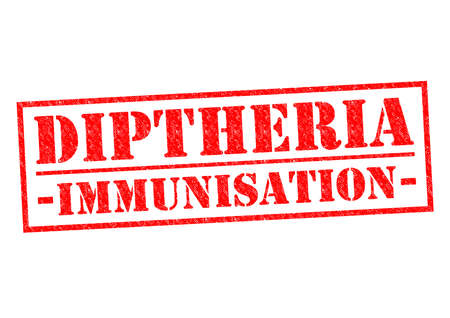 respiratory protection: DIPTHERIA IMMUNISATION red Rubber Stamp over a white background. Stock Photo