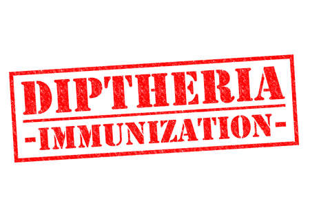 DIPTHERIA IMMUNIZATION red Rubber Stamp over a white background. photo