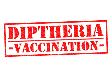 DIPTHERIA VACCINATION red Rubber Stamp over a white background. photo