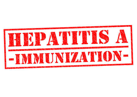 hepatitis vaccination: HEPATITIS A IMMUNIZATION red Rubber Stamp over a white background. Stock Photo