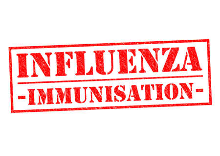 runny nose: INFLUENZA IMMUNISATION red Rubber Stamp over a white background. Stock Photo