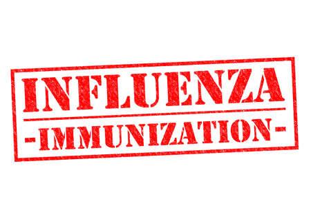 flu immunization: INFLUENZA IMMUNIZATION red Rubber Stamp over a white background.
