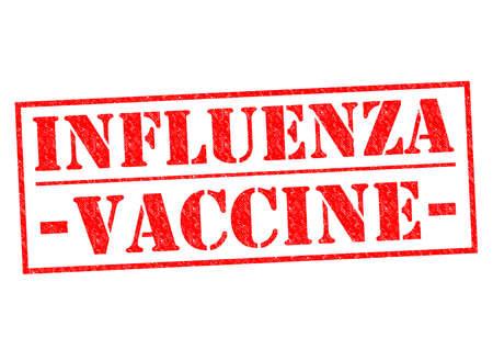 flu immunization: INFLUENZA VACCINE red Rubber Stamp over a white background.