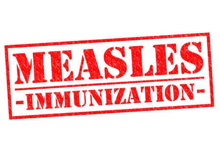 immunization: MEASLES IMMUNIZATION red Rubber Stamp over a white background.