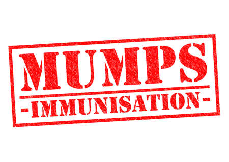 mumps: MUMPS IMMUNISATION red Rubber Stamp over a white background. Stock Photo