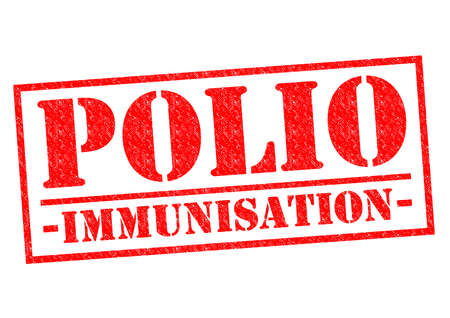jab: POLIO IMMUNISATION red Rubber Stamp over a white background. Stock Photo