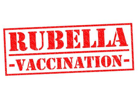 rubella: RUBELLA VACCINATION red Rubber Stamp over a white background. Stock Photo
