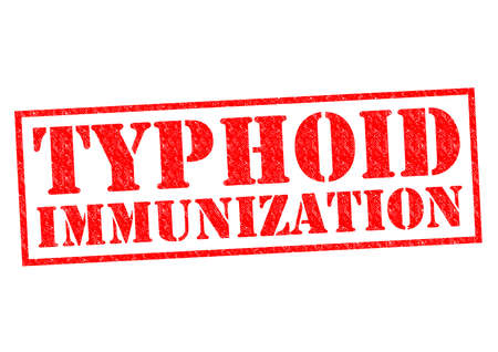 jab: TYPHOID IMMUNIZATION red Rubber Stamp over a white background.