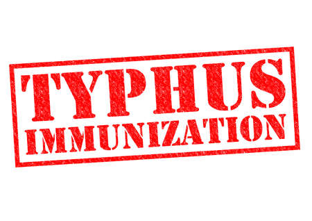 jab: TYPHUS IMMUNIZATION red Rubber Stamp over a white background. Stock Photo