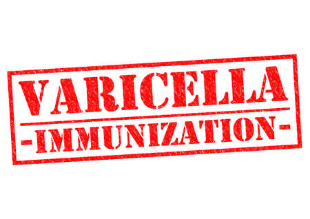 varicelle: VARICELLA VACCINATION Tampon rouge sur un fond blanc.