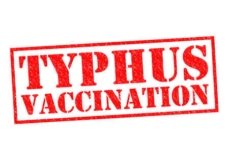 typhus: TYPHUS VACCINATION red Rubber Stamp over a white background.