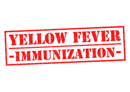 yellow fever: YELLOW FEVER IMMUNIZATION red Rubber Stamp over a white background. Stock Photo