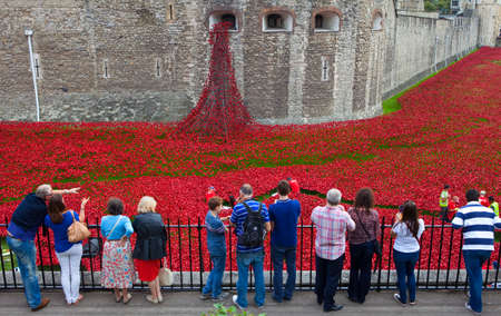 cummins: Tourists watching Volunteers set up the Ceramic Poppy Installation at the Tower of London