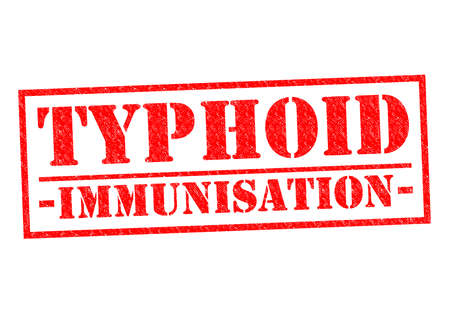 typhus: TYPHOID IMMUNISATION red Rubber Stamp over a white background.
