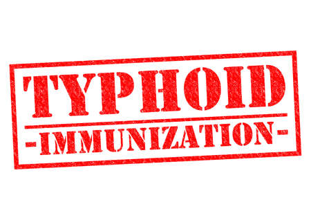 typhus: TYPHOID IMMUNIZATION red Rubber Stamp over a white background.