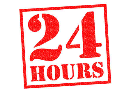 24 HOURS red Rubber Stamp over a white background.