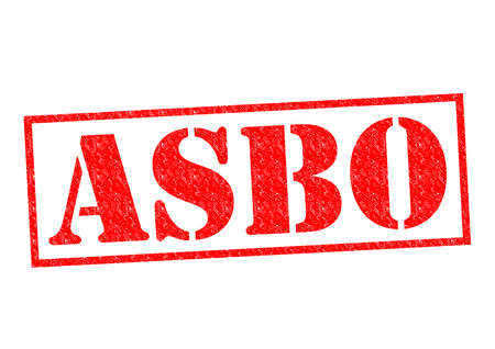 asbo: ASBO (Anti-Social Behaviour Order) red Rubber Stamp over a white background.