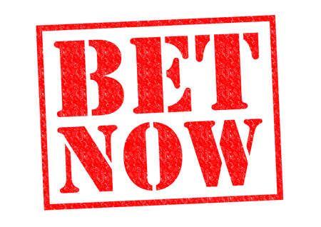 longshot: BET NOW red Rubber Stamp over a white background. Stock Photo