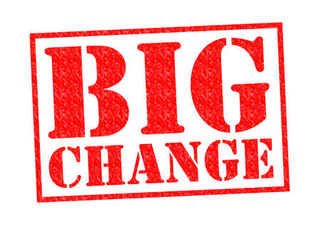 BIG CHANGE red Rubber Stamp over a white background.