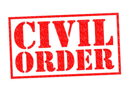 civil disorder: CIVIL ORDER red Rubber Stamp over a white background. Stock Photo