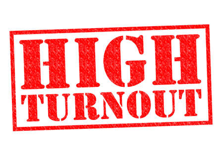 turnout: HIGH TURNOUT red Rubber Stamp over a white background.