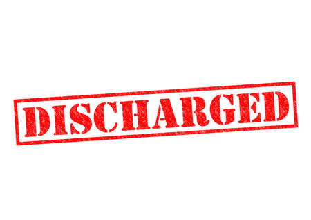 laid off: DISCHARGED red Rubber Stamp over a white background.