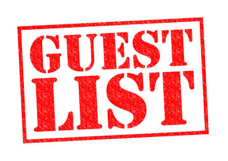 celeb: GUEST LIST red Rubber Stamp over a white background. Stock Photo