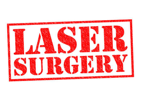 laser tag: LASER SURGERY red Rubber Stamp over a white background. Stock Photo