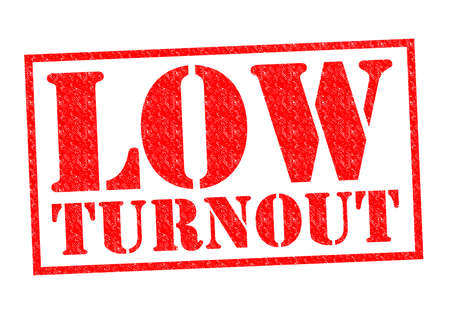 turnout: LOW TURNOUT red Rubber Stamp over a white background.