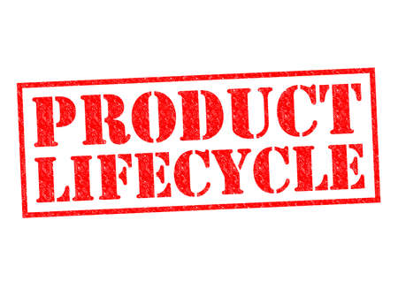 levenscyclus: Product Lifecycle rode Rubber Stamp over een witte achtergrond.