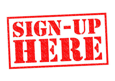 settle up: SIGN UP HERE red Rubber Stamp over a white background. Stock Photo