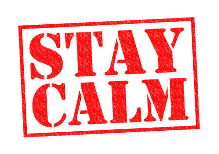 panicked: STAY CALM red Rubber Stamp over a white background. Stock Photo