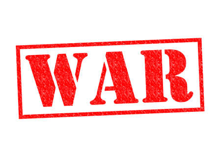 chemical weapon sign: WAR red Rubber Stamp over a white background.