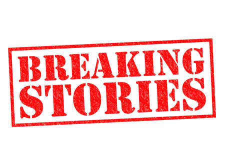current affairs: BREAKING STORIES red Rubber Stamp over a white background.