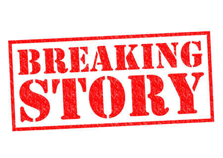 current affairs: BREAKING STORY red Rubber Stamp over a white background. Stock Photo