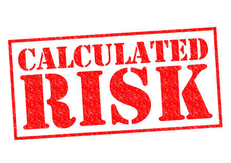 calculated: CALCULATED RISK red Rubber Stamp over a white background.