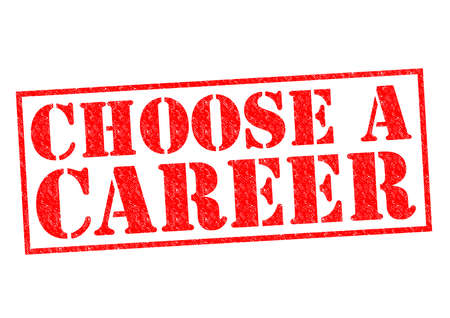 CHOOSE A CAREER red Rubber Stamp over a white background. photo