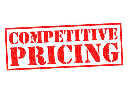 competitive: COMPETITIVE PRICING red Rubber Stamp over a white background. Stock Photo