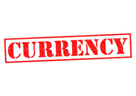 CURRENCY red Rubber Stamp over a white background. photo