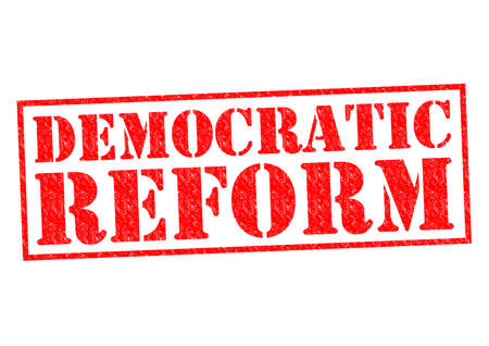reorganize: DEMOCRATIC REFORM red Rubber Stamp over a white background.
