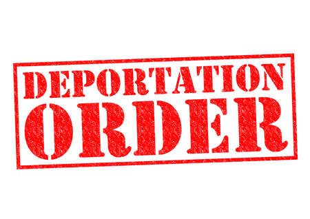 illegal immigrant: DEPORTATION ORDER red Rubber Stamp over a white background.