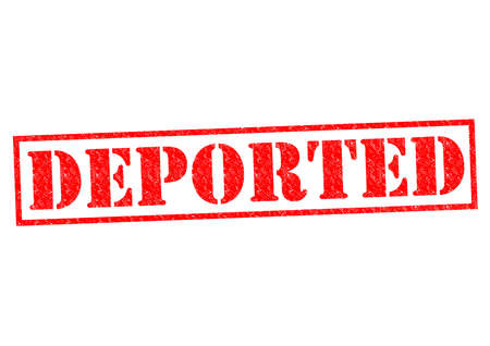 deported: DEPORTED red Rubber Stamp over a white background. Stock Photo