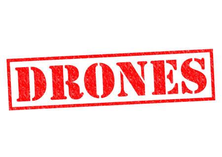 drones: Droni rosso Timbro di gomma su uno sfondo bianco.