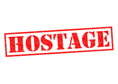 victim war: HOSTAGE red Rubber Stamp over a white background.