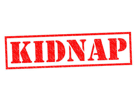 hijack: KIDNAP red Rubber Stamp over a white background. Stock Photo