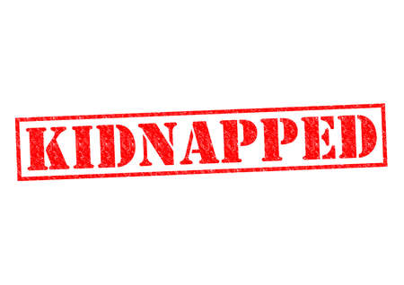 hijacked: KIDNAPPED red Rubber Stamp over a white background. Stock Photo
