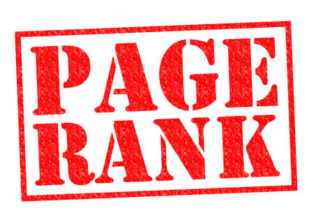 page rank: PAGE RANK red Rubber Stamp over a white background. Stock Photo