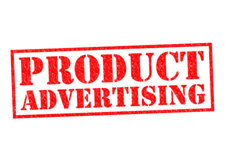 PRODUCT ADVERTISING red Rubber Stamp over a white background. photo