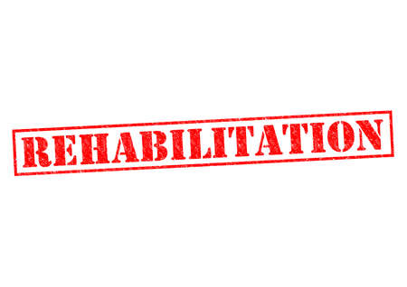 REHABILITATION red Rubber Stamp over a white background. photo
