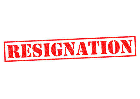 laid off: RESIGNATION red Rubber Stamp over a white background.